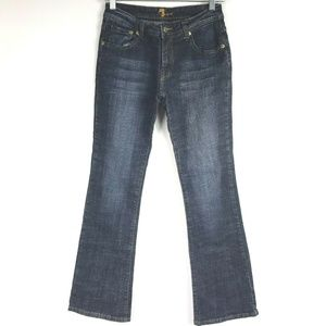 7 For All Mankind Boot Cut Jeans Whiskering Dark